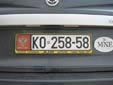 Normal plate (old style) from the former Republic<br>of Serbia and Montenegro. KO = Kotor