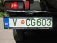 Military plate. VCG = Vojska Crne Gore (Military of Montenegro)