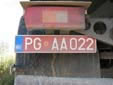 Abnormal vehicle's plate (more than 40 tons). PG = Podgorica