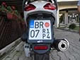 Temporary motorcycle plate. BR = Bar. RP = temporary. 14 = valid until 2014