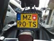 Motorcycle plate with an unofficial sticker<br>of the city of Maastricht ('Mestreech')