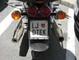 Personalized motorcycle plate (old style). LJ = Ljubljana