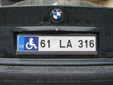 Handicapped driver's plate. 61 = Trabzon