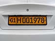 Foreign owned vehicle's plate. 01 = Tashkent<br>H = foreign resident
