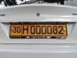 Foreign owned vehicle's plate. 30 = Samarqand province<br>H = foreign resident