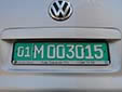 Foreign owned vehicle's plate. 01 = Tashkent<br>M = foreign company