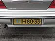 Foreign owned vehicle's plate (old style). 10 = Tashkent. H = foreign resident<br>From the collection of Indrek Raidlo