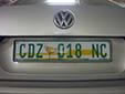 Normal plate. NC = Northern Cape province